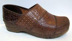 SANITA Brown Patterned Leather Professional Clog Size 38/US 7-7.5 #Sanita #Clogs