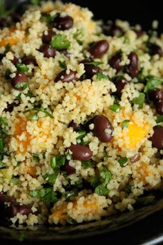 Cous cous, mango & black bean salad. A great combination of ingredients. #couscous #recipe