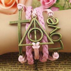 """Pink Love"" Harry Potter Deathly Hallows Bracelet"