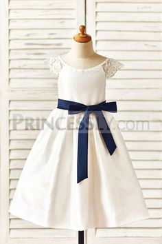 Cap Sleeves Ivory Taffeta Flower Girl Dress