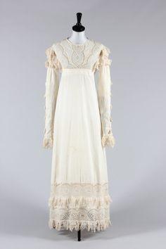 1815-20 ca. Empire Line Summer Dress.  Broderie anglaise, skirt hem and sleeve…