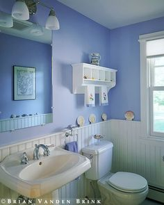 My favorite color. Beadboard bathroom in periwinkle. periwinkle is a color you need more of in your life. Bathroom Niche, Blue Bathroom Decor, Bathroom Renos, Small Bathroom, Bathroom Beadboard, Bathroom Ideas, Purple Bathrooms, Periwinkle Bedroom, Periwinkle Blue