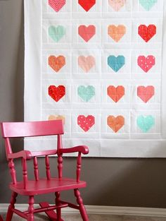 For Heart Blocks in Multiple Sizes see this post! I revised this tutorial a bit so the hearts are 2 print pieces instead of 4 as in the quilt above. Now there are less seams and they are much easi…