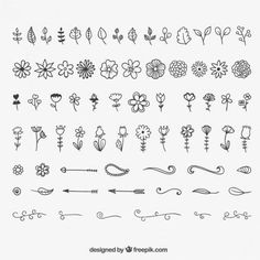 Decoration And Floral Ornaments – Bullet Journal Doodle Drawings, Doodle Art, Doodle Images, Bullet Journal Inspiration, Vector Free, How To Draw Hands, Notes, Journaling, Crafty