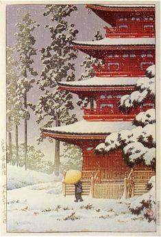 Saishoin Temple, Hirosaki  by Kawase Hasui, 1936  (published by Watanabe Shozaburo)