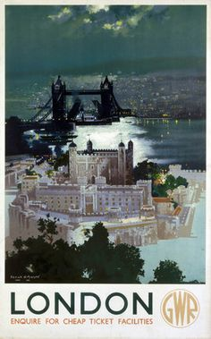 Poster produced for Great Western Railway (GWR) to promote rail travel to London. The poster shows an aerial view of the Tower of London. Artwork by Frank Henry Mason who was educated at HMS Conway and spent time at sea Posters Uk, Retro Poster, Railway Posters, Vintage Travel Posters, Train Posters, Pub Vintage, Vintage London, Vintage Ideas, Rio Tamesis