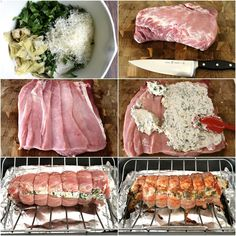Spinach Dip Stuffed Pork Loin is an easy-to-make meal, perfect for bringing the people you care about around the dinner table! Pork Loin Recipes Oven, Cooking Pork Tenderloin, Roast Brisket, Grilled Pork Loin, Baked Pork, Stuffed Pork Roast, Pork Roulade, Pork Cooking Temperature, Pork Dishes