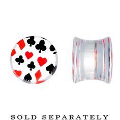 00 Gauge Acrylic Playing Card Suit Poker Saddle Plug