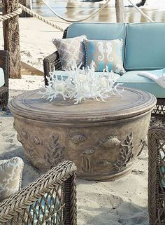 Sculptors and mold-makers team up to craft our richly detailed Sea Life Chat Table, which will anchor poolside or garden-party conversations. I LOVE THIS TABLE! Trying to find it now. Outdoor Spaces, Outdoor Living, Outdoor Decor, Outdoor Ideas, Coastal Living, Coastal Decor, Coastal Style, Key West Decor, Patio Furniture Sets