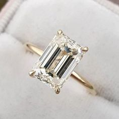 Yellow Gold Emerald Cut Solitaire Sterling Silver Engagement Ring For Her - Yellow Gold / 9.0(U.S)