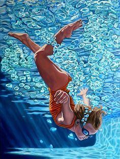 Items similar to Plunge - Original Stillman Giclee on Signed Archival Paper, in. on Etsy Graffiti Art, Underwater Painting, Orange Art, Sports Art, Mixed Media Painting, Chalk Art, Art Reproductions, Painting & Drawing, Find Art