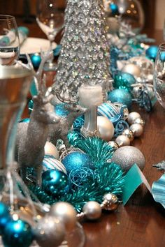 table decoration ideas silver blue colors winter wonderland theme ideas