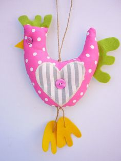 Hanging Chicken Hen Decoration Pink Polka Dot Fabric with applique Heart £7.50
