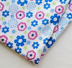 HALF YARD Blue n Pink flower  Cotton Fabric by ChezviesSupplies, $2.50