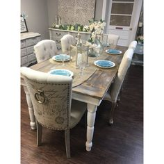 Beautiful farmhouse table seats up to eight depending on chair size. A great piece to add as your dining table. Available to order in any size and color. Pri