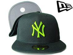 """【ニューエラ】【NEW ERA】59FIFTY カラーアンダーバイザー  NEW YORK YANKEES """"NY"""" ブラックXグレーXライムグリーン【ニューヨーク・ヤンキース】【5950】【newera】【帽子】【NYC】【イチロー】【キャップ】【蛍光カラー】【NY】【cap】【あす楽】【楽天市場】"""