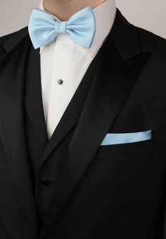 Mens formal attire with light blue bow tie and pocket square set with black tuxedo All Black Tuxedo, Black Tuxedo Wedding, Light Blue Bow Tie, Blue Ties, Light Blue Quinceanera Dresses, Serenity, Formal Attire For Men, Blue Tuxedos, Color Azul