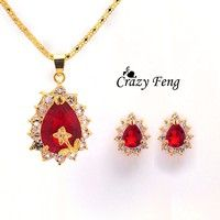 Wish   Women's  gold plating rhinestone 4 Colors Sapphire Chain Flower Necklace Earrings Jewelry Sets