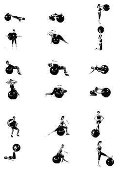 Maybe I'll use my fitness ball for something other than a chair some day..  Exercises listed in the upper rows are for the upper body, such as shoulders & chest        Exercises in the center are for stomach / abdominal, back, & lower back        Lower rows are exercise for lower body, legs & buttocks