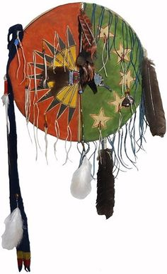 Native American Feathers & Stars Painted 2 Cover Shield - Front View