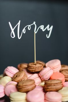 Excited macarons!   Read More: http://www.stylemepretty.com/living/2014/09/24/behind-the-scenes-camp-workshop/