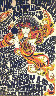 Concert poster for the Whisky A GoGo on Sacramento St. in San Francisco - later 60s. -- The Peanut Butter Conspiracy and The Doors for 2 weeks - price was $2 to get in! Probably 1967