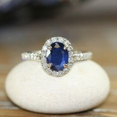 Natural Blue Sapphire Engagement Ring Halo Diamond Ring 14k White Gold 8x6mm Oval Sapphire Ring (Other Metals & Stone Available) on Etsy, $1,876.00