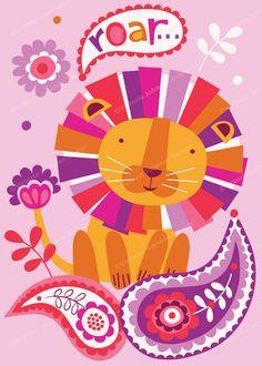 *Victoria Johnson* Lion Illustration, Deco Kids, Animal Graphic, Elementary Art, Animal Drawings, Cute Art, Art For Kids, Print Patterns, Prints
