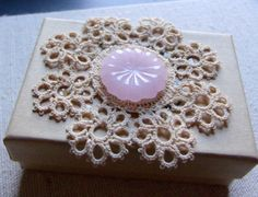 Natural cardboard gift box with antique lace and by LizPOriginals