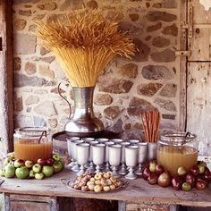 hot apple and pear ciders served in pewter goblets, accompanied by cinnamon sticks and pumpkin and sugar doughnuts, take the chill off an autumn day