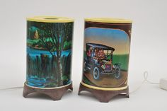 Lot No. 73    TWO REVOLVING LAMPS, 1 X CAR MOTIF; AND 1 X WATERFALL MOTIF, BOTH BOXED AND UNTESTED (E BOXES G) (2)    Estimate $40-$60