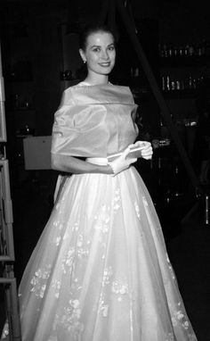 Grace Kelly. I believe this is what she wore to the Academy Awards one year.