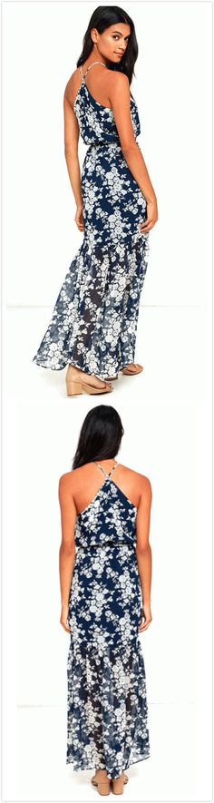Simple but casual style makes you more fashion. This dress made from cozy fabric with floral print, halter design. See the full collection at OASAP.COM.