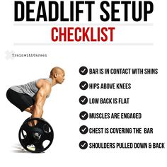 When it comes to the deadlift, it all starts with your setup. A strong setup positions you to perform the lift safely and effectively. Gym Workout Tips, Weight Training Workouts, Power Lifting Workouts, Workout Planner, Street Workout, Cardio Workouts, Workout Exercises, Body Workouts, Muscle Fitness