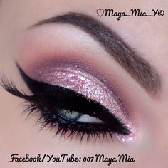 Pink glitter eyeshadow with winged liner #eye #makeup #eyeshadow #glitter #dramatic #glam