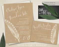 Rustic wedding invitations. Kraft wedding invitation set for rustic chic weddings with the outdoors as a centerpiece of the venue.