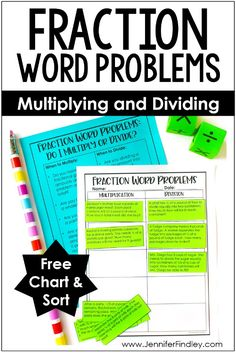 Fraction word problems can be tricky for students. This post shares an anchor chart and a free sort for multiplying and dividing fractions word problems. Word Problems 3rd Grade, Time Word Problems, Fraction Word Problems, Dividing Fractions, Teaching Fractions, Math Fractions, Equivalent Fractions, Adding And Subtracting Fractions, 3rd Grade Math Worksheets