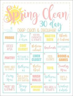 Get your home clean in a month with this easy to follow calendar cleaning guide!