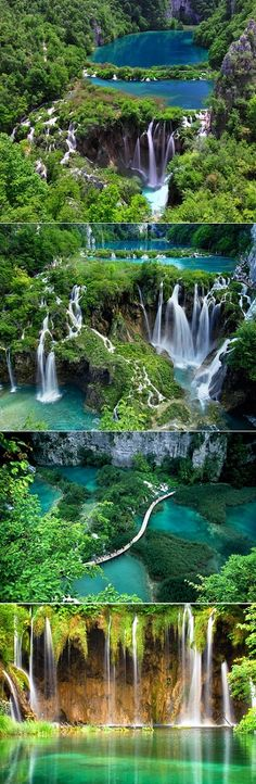 16 Lakes- connected by waterfalls. Plitvice Lakes in a Croatian National Park.
