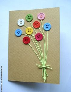 Button card project - Didn't have raffia, but I used small ribbon. Handmade Birthday Cards, Happy Birthday Cards, Greeting Cards Handmade, Button Cards, Mothers Day Cards, Creative Cards, Kids Cards, Cute Cards, Homemade Cards