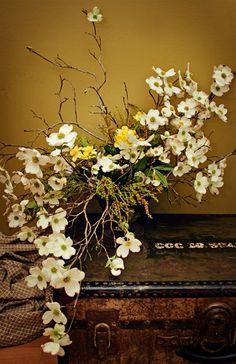 Avant-Garde-Organic-Vintage-Dogwood-Branch-Spring-Daffodil-Compote-Centerpiece-Floral-Arrangement-Oleander-New Jersey-Bucks-County-Wedding-Event-Florist