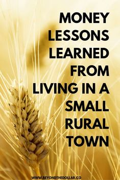 Does living in a rural town teach you different money lessons? Read this post to find out! Earn More Money, Earn Money Online, Ways To Save Money, Money Tips, Best Budgeting Tools, Finding A Hobby, Managing Your Money, Money Matters, Lessons Learned
