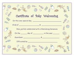 Free Printable - Baby Welcoming Certificate