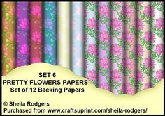 Set 6 Pretty Flowers Set of 12 Backing Papers on Craftsuprint - Add To Basket!