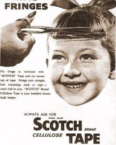 Would you like a straight fringe? #scotchtape knows what to do... (1940) . 📸: Unknown. Contact me for credits.
