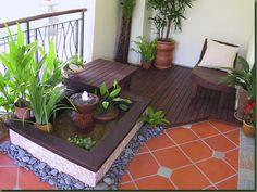 balcony, zen garden