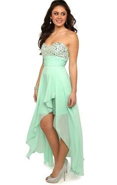 Deb Shops Strapless #mint #Prom #Dress with Beaded Stone Bodice and Cascade High Low Skirt $99