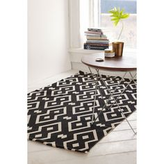 Magical Thinking Salta Geo Printed Rug (70 AUD) ❤ liked on Polyvore featuring home, rugs, black, black area rug, black rugs, magical thinking rug and low profile rug