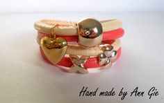 Raspberry-beige bracelet