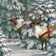 Reindeer & Cardinals by Elizabeth Goodrick-Dillon